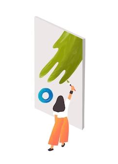 Expressionistische kunstenaar op het werk platte vectorillustratie.
