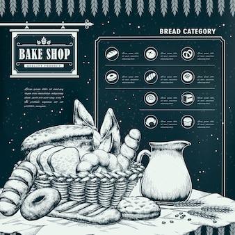 Exquise handgetekende bakwinkel infographic met heerlijk brood