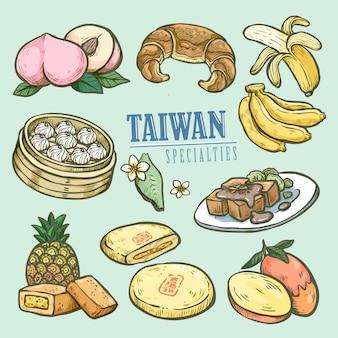 Exquise taiwanese specialiteitencollectie in de hand getekend Premium Vector
