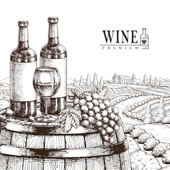 Exquise wijnmakerij poster in realistische handgetekende stijl