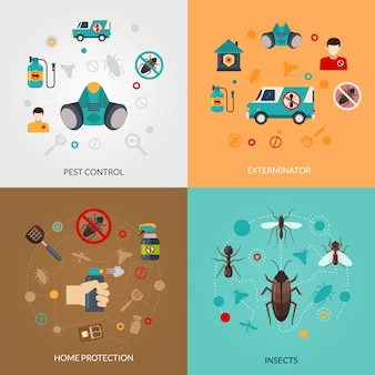 Exterminator pest control vectorafbeeldingen