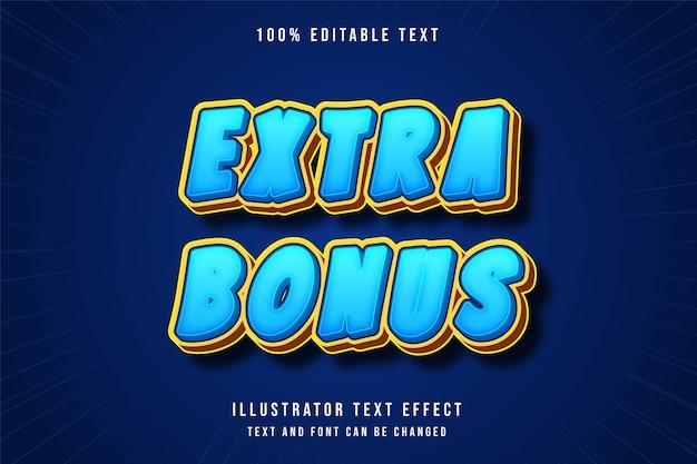Extra bonus, 3d bewerkbaar teksteffect blauwe gradatie geeloranje spelstijl