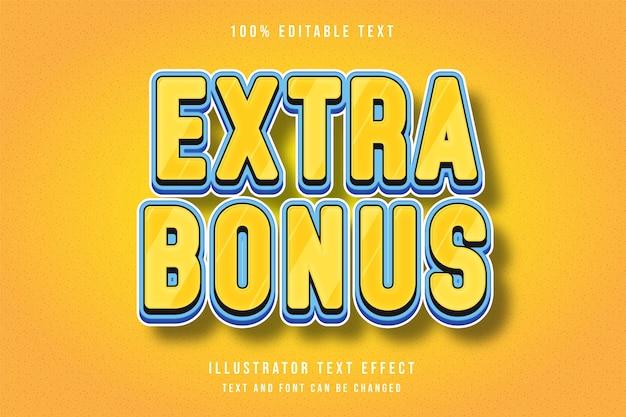 Extra bonus, 3d bewerkbaar teksteffect gele blauwe komische stijl