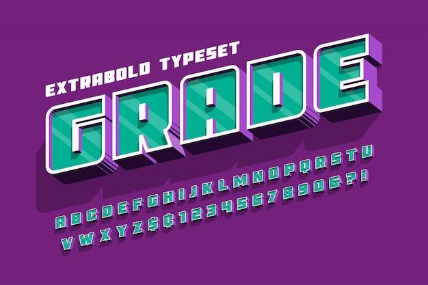 Extrabold 3d display lettertype ontwerp, alfabet, letters en cijfers