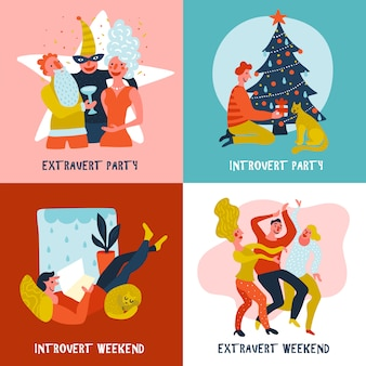 Extravert introvert ontwerpconcept
