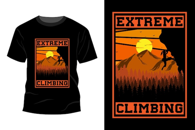 Extreem klimmen t-shirt mockup ontwerp vintage retro