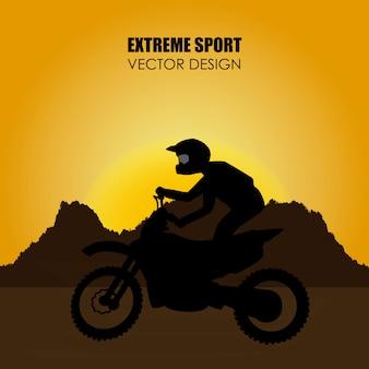 Extreem sportontwerp over landschaps vectorillustratie als achtergrond