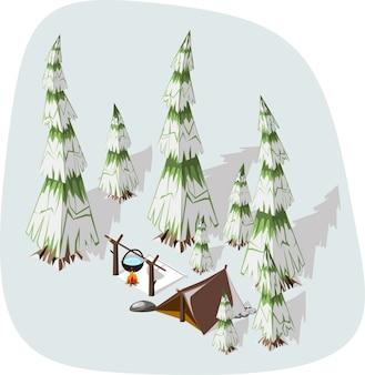 Extremal winterwandelen - bruine tent en vuur op een besneeuwde spar.