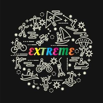 Extreme kleurrijke verloop met lijn pictogrammen instellen