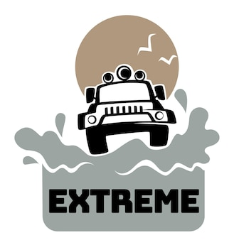 Extreme off-road avontuurlijke jeep en spatten