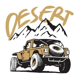 Extreme off road-voertuig suv op berg en woestijn