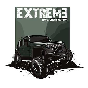 Extreme sport illustratie met jeep auto op bergen