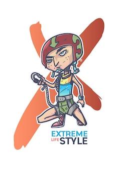 Extreme sport skateboarden man stripfiguur ontwerp
