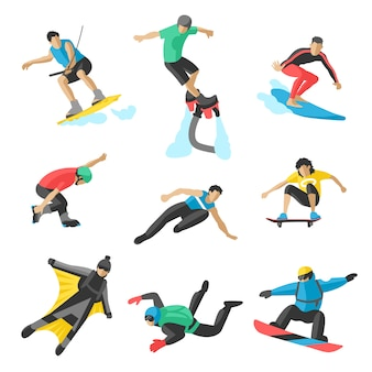 Extreme sport vector mensen. parasailing, wakeboard, snowboard, rocker, snowboards, flyboard