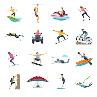 Extreme sportactiviteiten vlakke pictogrammeninzameling