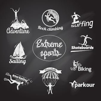 Extreme sporten pictogram schoolbord