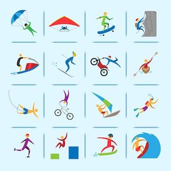 Extreme sportenpictogrammen