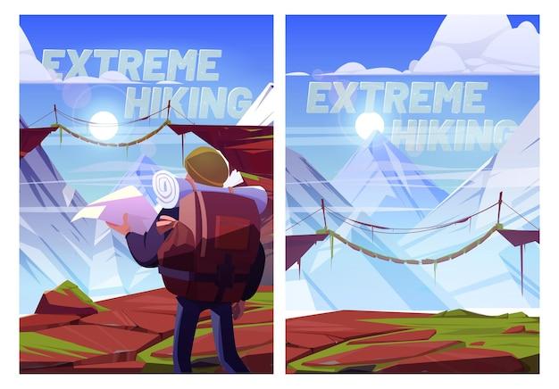 Extreme wandelen cartoon posters reiziger man met kaart op bergen reis xtreme reizen avontuur toerist met rugzak staan op rotsachtige landschap kijken op hangbrug over hoge toppen