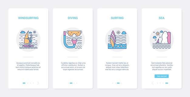 Extreme watersportuitrusting en symbolen ui ux onboarding mobiele app-paginaschermset.