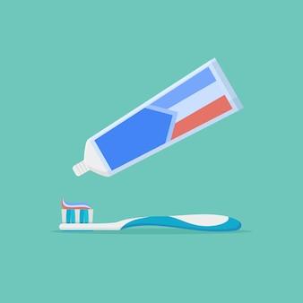 Extrusie tandpasta uit tube op tandenborstel. tandheelkunde.