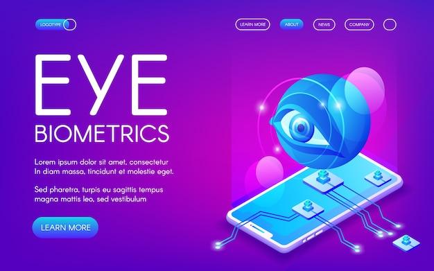 Eye biometrics-technologieillustratie voor persoonlijke identiteitsverificatie.