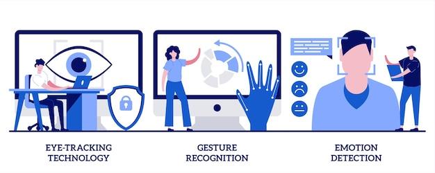 Eye-tracking-technologie, gebaarherkenning, illustratie van emotiedetectie met kleine mensen