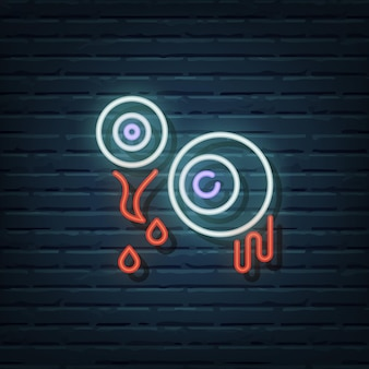 Eyeball neon sign vector elementen