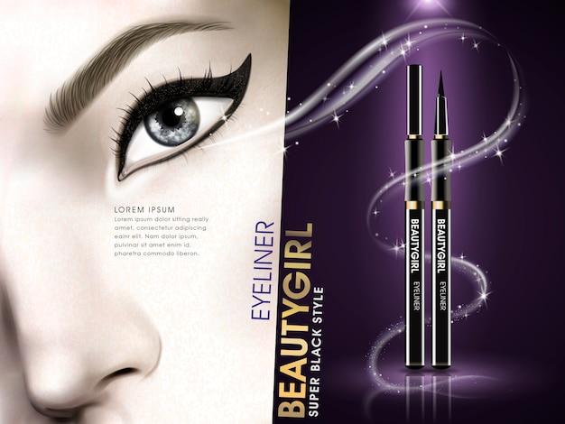 Eyeliner schoonheid meisje advertentie met oog
