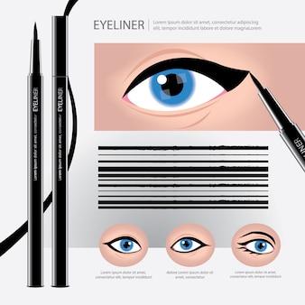 Eyelinerverpakking met soorten oogmake-up