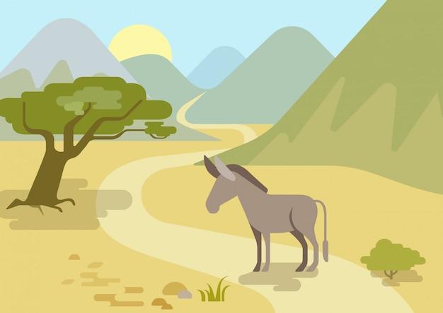 Ezel in de bergen habitat platte ontwerp cartoon boerderij wilde dieren.