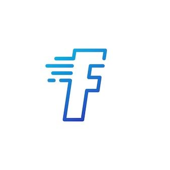 F letter dash snel snel digitaal teken lijn overzicht logo vector pictogram illustratie