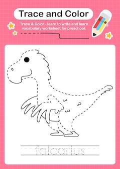 F overtrekwoord voor dinosaurussen en kleurwerkblad met het woord falcarius