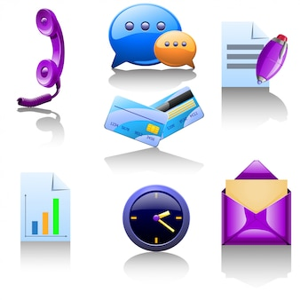 F set van verschillende items voor het bedrijfsleven