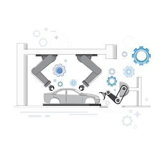 Fabricage robots industriële automatisering productie webbanner vectorillustratie