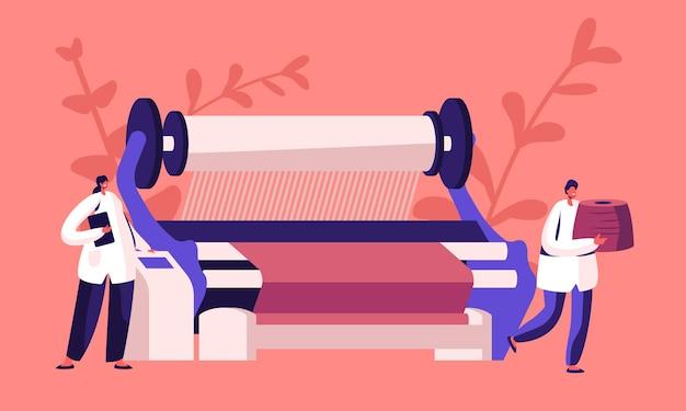 Fabricage van textielmachines. cartoon vlakke afbeelding