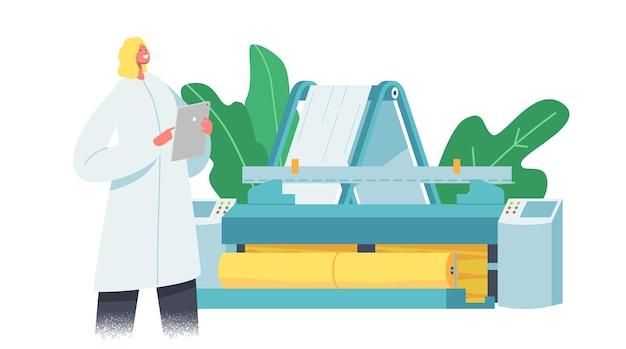 Fabricage van textielmachines, fabriek voor de productie van stoffen. arbeider in uniform bij het bedieningspaneel van weaver loom