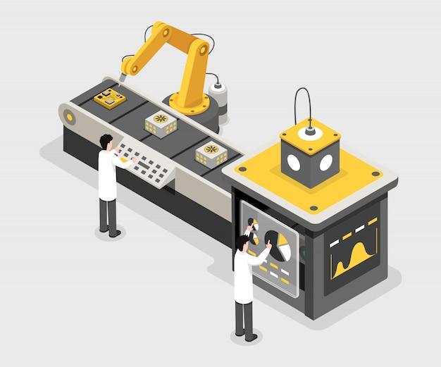 Fabricageproces, werknemers van dataverzamelfaciliteit. ingenieurs monitoring proces