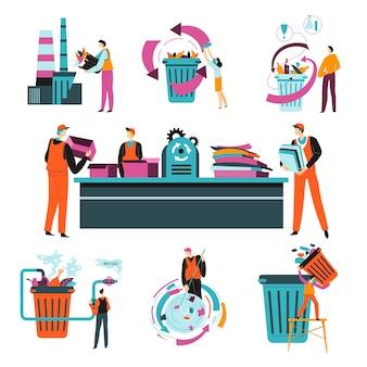 Fabriek bezig met afvalrecycling, proces van scheiden, sorteren en versnipperen van papier Premium Vector