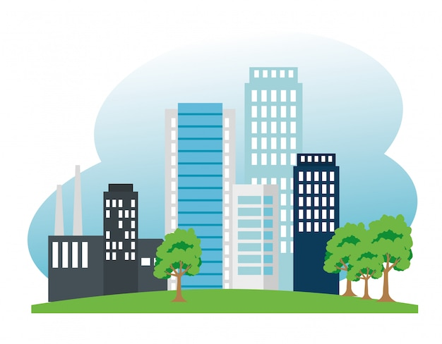 Fabriek en gebouwen en bomen voor behoud van ecologie