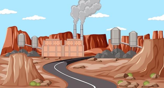 Fabriek en lange wegscène