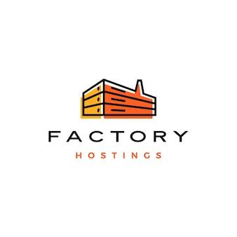 Fabriek hosting server cloud data opslag logo vector pictogram illustratie