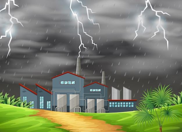 Fabriek in de natuurscène