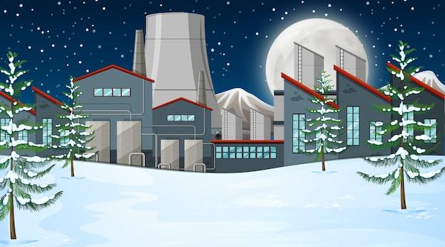Fabriek in sneeuwscène