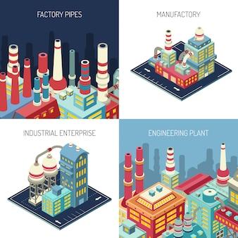 Fabriek isometrisch ontwerpconcept