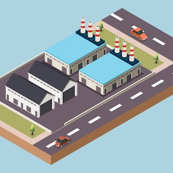 Fabriek of industriezone in een stad