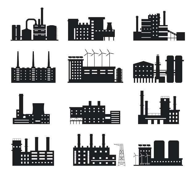 Fabriek silhouet. industrieel gebouw pictogrammen. fabricagefabriek en krachtcentrale met schoorstenen, windmolens en zonnepanelen logo vector set. alternatieve energiebronnen apparatuur en bedrijf