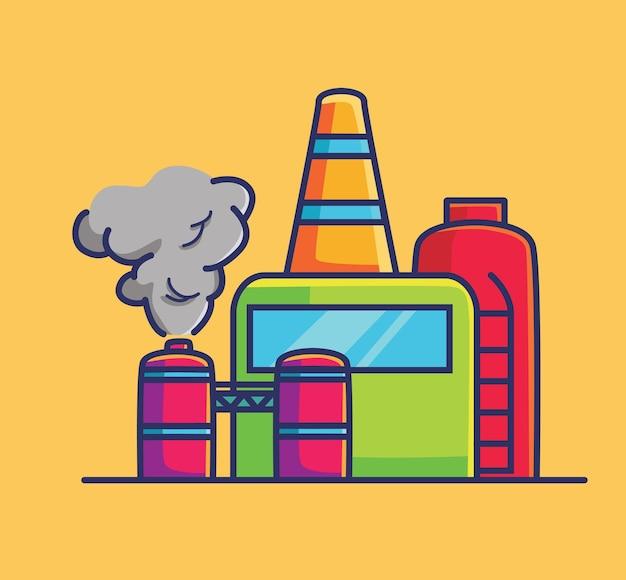 Fabriek vervuiling illustratie platte cartoon stijl illustratie pictogram premium vector logo mascotte