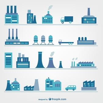 Fabrieken en industrie iconen