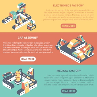 Fabrieksautomatisering plat isometrische horizontale banner set