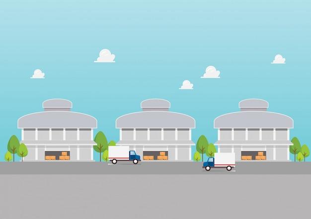 Fabrieksgebouw magazijnen industriezone